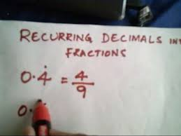 vedic mathematics converting recurring decimals into fractions