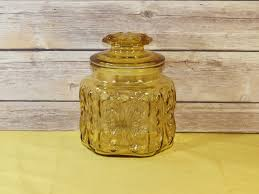 vintage glass canisters kitchen vintage gold atterbury jar clear gold glass canister hexagon