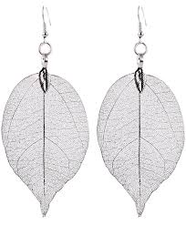 real earrings new fashion bohemian earrings unique real leaf big
