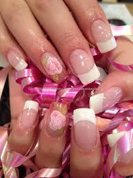 white french polish gel overlays with 3d acrylic encapsulated
