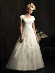 line square chapel train modest lace wedding dress with short sleeves