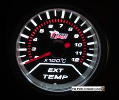 exhaust temperature gauge 52mm vw golf mk2 mk3 mk4 r32 vr6 turbo