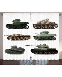 Drapes World Curtain Second World War Tanks Print 2 Panel Window Drapes