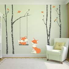 baby fox orange 4 white trees wall decal woodland 84in woodland