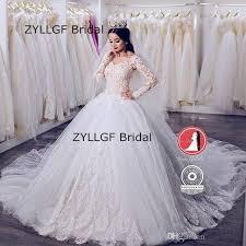 online shop zyllfg bridal puffy long sleeves wedding gowns big