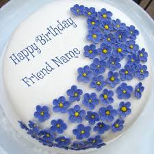 online birthday cake write your friend name on violet flowers birthday cake birthdays
