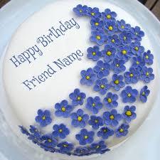 online birthday cake write your friend name on violet flowers birthday cake birthdays