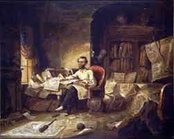 abraham lincoln writing the emancipation proclamation visual