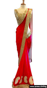redcolor red color georgette red lotus saree