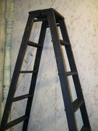 double sided wooden 5 step ladder shelving frame
