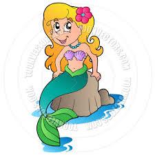 cartoon cute mermaid by clairev toon vectors eps 39350