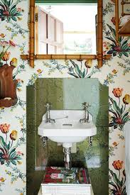 bathroom wallpaper ideas uk botanical tulips small bathroom wallpaper idea houseandgarden