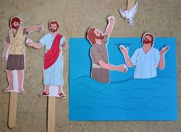 john the baptist baptizing jesus jesus is on a popsicle stick to