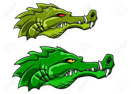 aggressive green crocodile or alligator mascot in cartoon style
