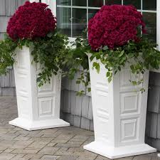 planter boxes white oval granite flowerpot with nice green plants