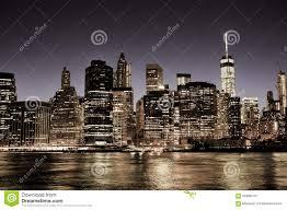new york city manhattan downtown skyline at night stock photo