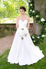 white chiffon strapless sweetheart destination a line wedding