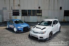 subaru impreza hatchback modified 2008 mitsubishi lancer evolution x u0026 2008 subaru impreza wrx sti