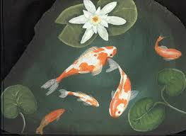 rock paintings slates painted rocks lee wismer fish pond koi pond gifts yard decorations yard and garden outdoor signs welcome signs yard signs flagstones