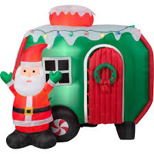 Animated Outdoor Christmas Decorations by 6 U0027 Animated Airblown Inflatable Santa And Pop Out Penguin Rv Scene