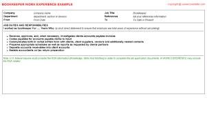 sample bookkeeper job description bookkeeper cv work experience