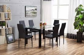 6 Black Dining Chairs High Gloss Glass Dining Set And 6 Black Faux Leather Chairs