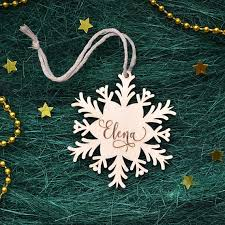 personalized christmas ornaments wooden snowflake wood
