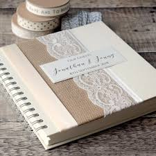 personalised wedding guest book rustic hessian lace wire bound wedding guest book