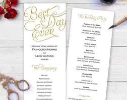 wedding order of events wedding program poster order of