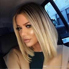 dark roots blonde hair ombre lace front wigs short blonde hair wig bob style wigs for