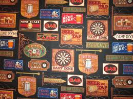 beer signs game room bar man cave black cotton fabric fat quarter