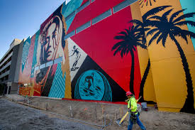 Wall Mural Country Forest Road Shepard Fairey S 55 Foot High Welcome Home Mural In Costa Mesa
