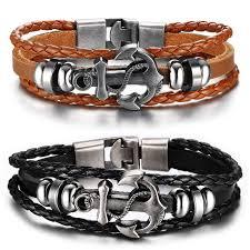 anchor bracelet men images Men 39 s braided leather anchor bracelet alvin 39 s little corner store jpg