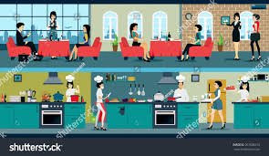 restaurant has dining room kitchen stock vector 267038270