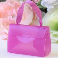 purse gift bags plastic mini purse favor boxes with ribbon handle white pink