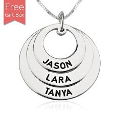 necklace rings names images Personalized family names necklace rings disc pendant jpg