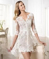 cheap splendid a line v neck asymmetrical lace beach wedding dress