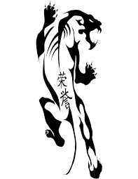 tribal panther with chinese hieroglyphs tattoo design by pimart