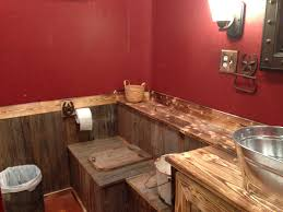 Lowes Valspar Colors Our Rustic Bathroom The Paint Is Cabin Red Valspar From Lowes We