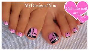 toenail art design pink and black toes diseño de uñas de pies