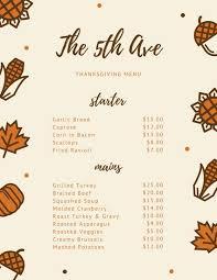 thanksgiving menu templates canva