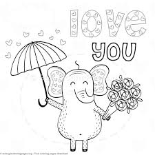 elephant love coloring page elephant in love love you coloring pages getcoloringpages org