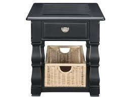 Tall End Tables Living Room by Plantation Cove Black End Table With Baskets American Signature