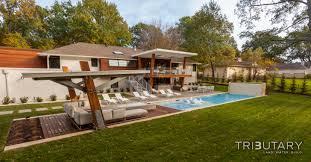 Pool With Pergola by Geometric Mid Century Modern Tributary Pools U0026 Spas