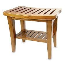 teak wood shower bench spa bath stool shelf indoor outdoor