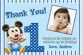 Mickey Mouse 1st Birthday Card Mickey Mouse 1st Birthday Thank You Cards 1st Birthday Party