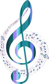 clipart turquoise musical notes typography no background