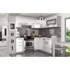 cuisine équipée blanc laqué justhome lidja l pro l cuisine équipée complète 190x170 cm couleur