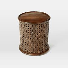 Wicker Accent Table Carved Wood Side Table West Elm