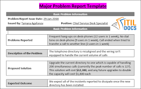 it issue report template incident vs problem and problem report template to resolve problem